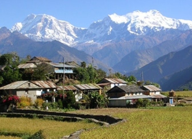 Local village, fertile land and Annapurna Mountains