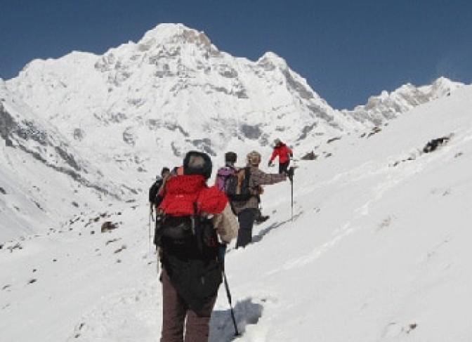 Annapurna I (8097m) the trekkers are doing the trek to ABC