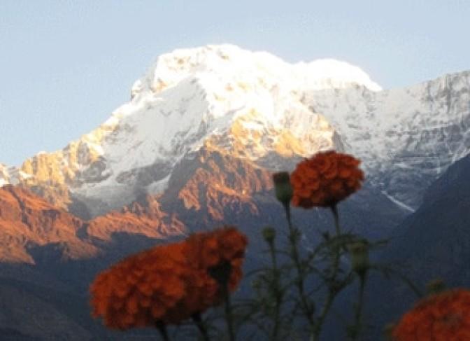 Annapurna south (7219m) and Himchuli (6446m)