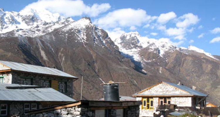 Local houses with mountains