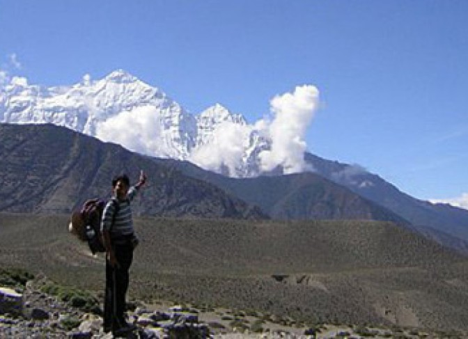 Mt Nilgiri and landscape of Mustang
