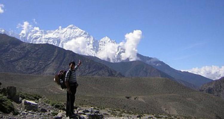 Mt Nilgiri and landscape of Mustang