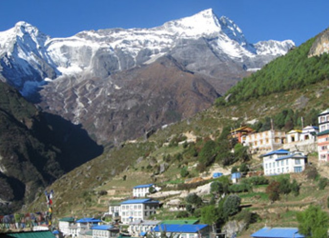 Namche bazzar with Kongde peak