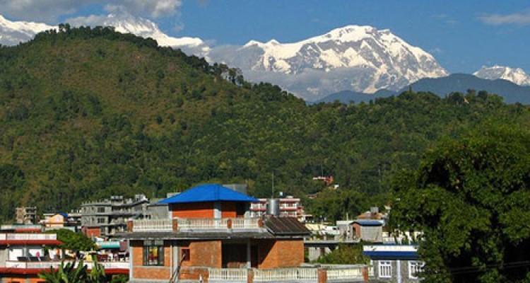 Pokhara city and Annapurna mountains