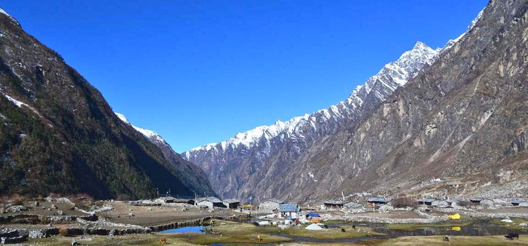 Langtang valley before earthquake in Nepal himalayas