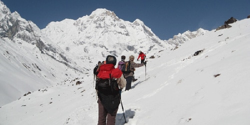 Annapurna I (8097m) the trekkers are doing the trek to ABC