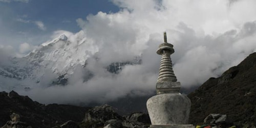 Buddhist Stupa and Langtnag mountain range including Langtang Lirung(7246m)