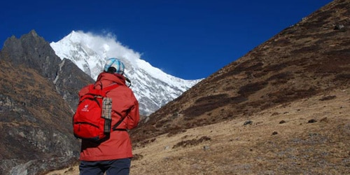 In Langtang valley trekking the trekker,s are enjoying view of Langtang Mountain Range