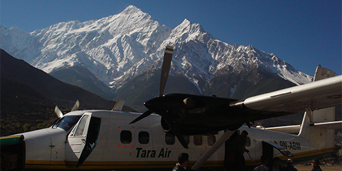 Jomsom Airport (2700m) with Nirgiri (7041m) - Taken from Jomsom