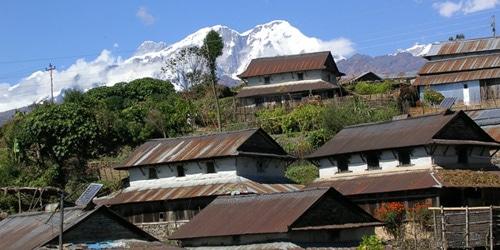 Local village and Annapurna range in royal trekking