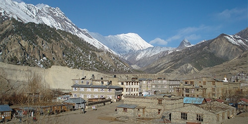 Manag village (3400m/11152ft) with Annapurna III (7555m/24780ft) and other mountains - Taken from Manag.