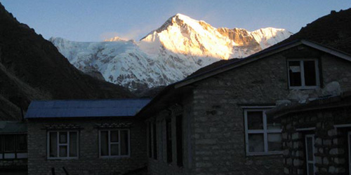 The Gokyo Lake Tea house and Mount Cho Oyu (8201m/26899ft). You can view close-up view of summit and sunset in the Cho Oyu six world highest mountains.  In Gokyo Lake trekking you can observe also the world longest Ngozumba glacier