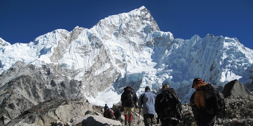 Mt Nuptse, trekkers are doing the trek towards the Everest base camp