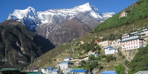 Namche bazaar with kongde peak