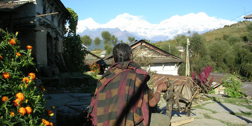 Nepali women weaving the handicraft in royal trekking