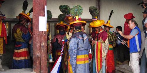 The Buddhist monk are celebrating mani rimdu festival in Tyangbouche