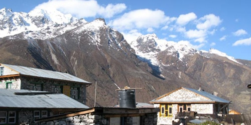 The tea house in Kyanjing Goamp at 3817m with view of Langtang mountains