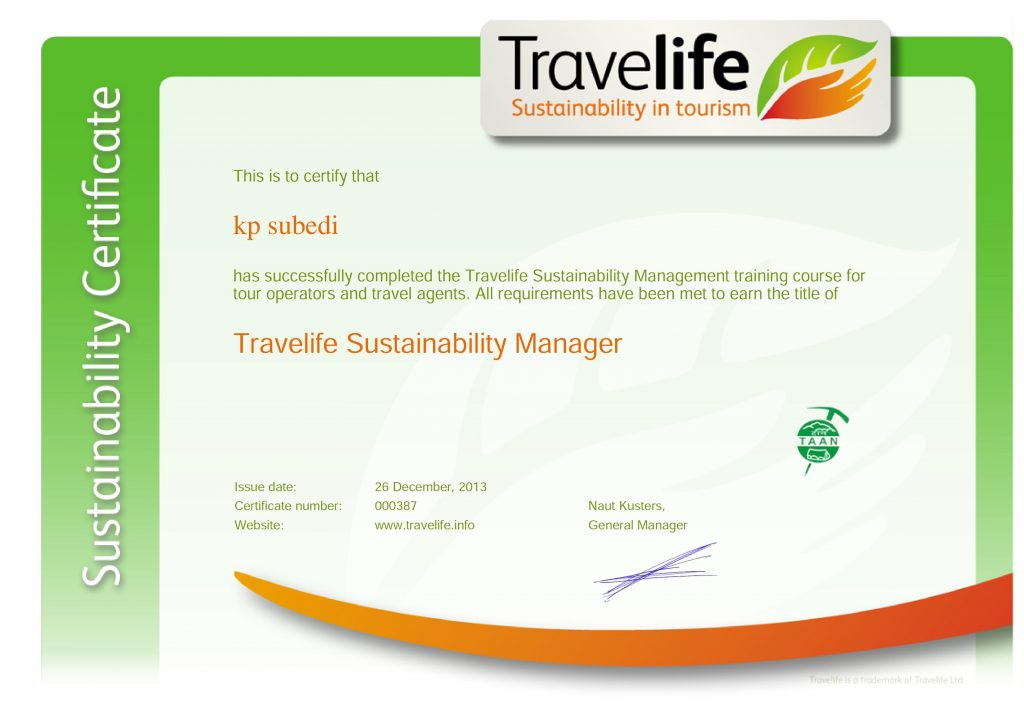 Travelife sustainability Manager