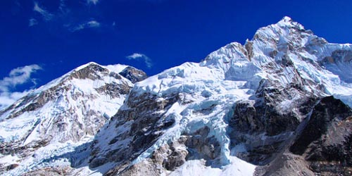 This picture has taken from nearby Mount Everest base camp. The base camp situated at 5364m height above the sea level. You can observe the Kumbu Glacier and Nuptse (7864m) and world highest mountain Mount Everest (8848m).