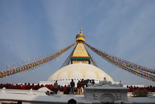 The ancient Stupa of Boudhanath is one of the largest in the world. The influx of large populations of refugees from Tibet has seen the construction of over 50 Tibetan Gompas (Monasteries)