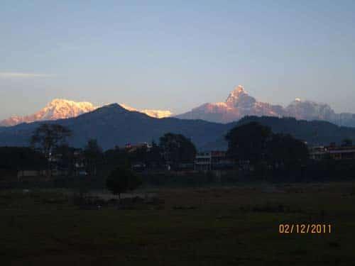 Nepal Tour- Sunrise view in Annapurna mountain range from Pokhara