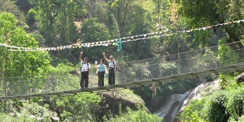 Suspension bridge on the Langtang River