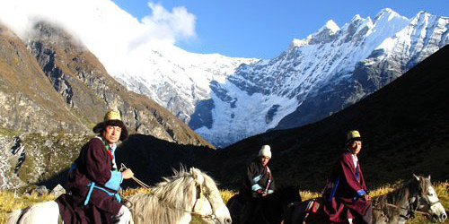 Tamang Heritage trail and langtang valley trekking- Horse riding Tamang people wearing tamang treditional dress
