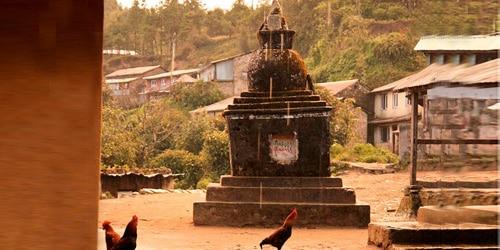 Traditional village, small Buddhist stupa and chicken in Langtang helambu trekking
