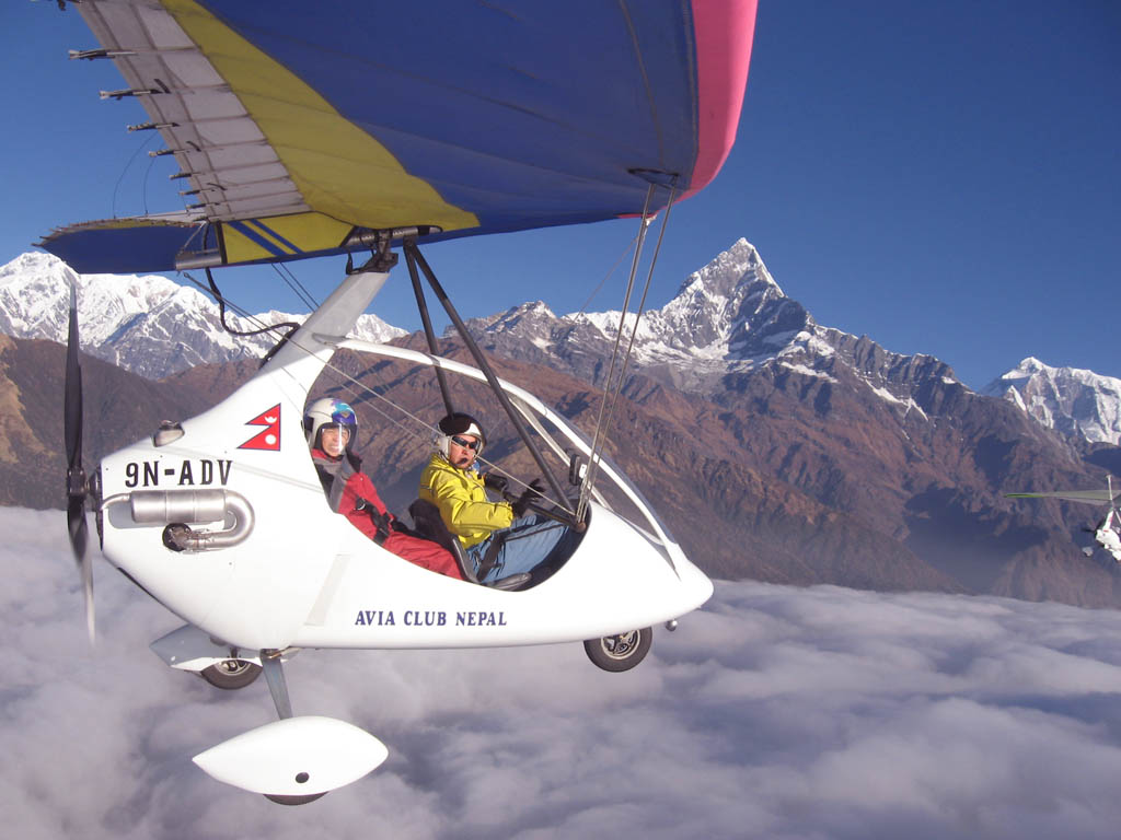 Nepal honeymoon tour- Ultralight flight in Pokhara