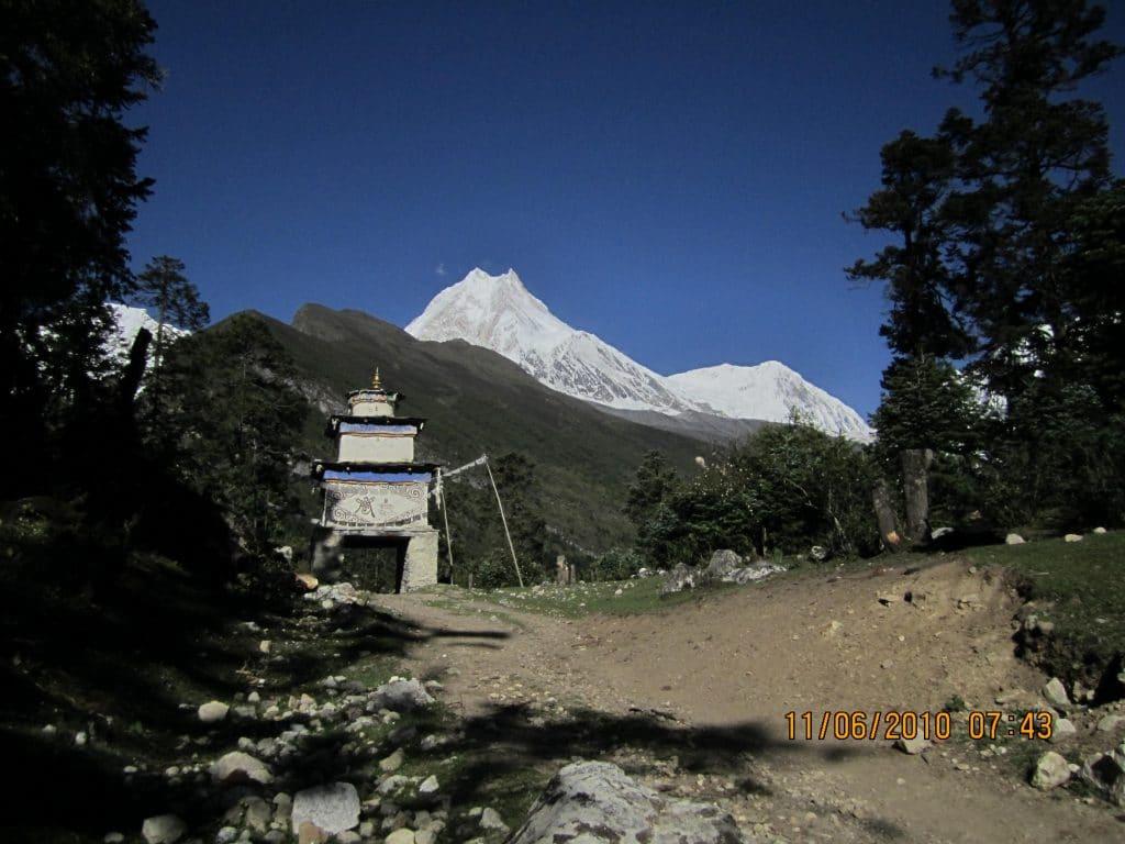 Manaslu circuit trek Nepal- Entrance get of Samagaon